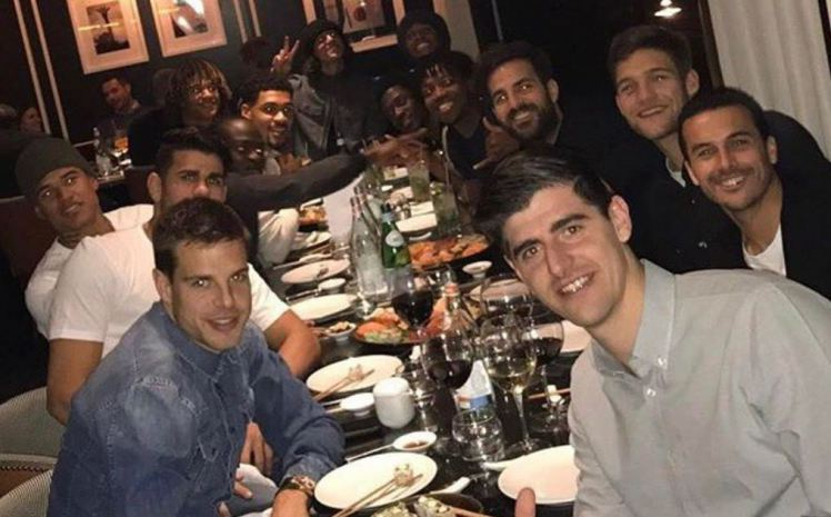 Spotted: Forgotten Chelsea ace pictured at team dinner following return to club
