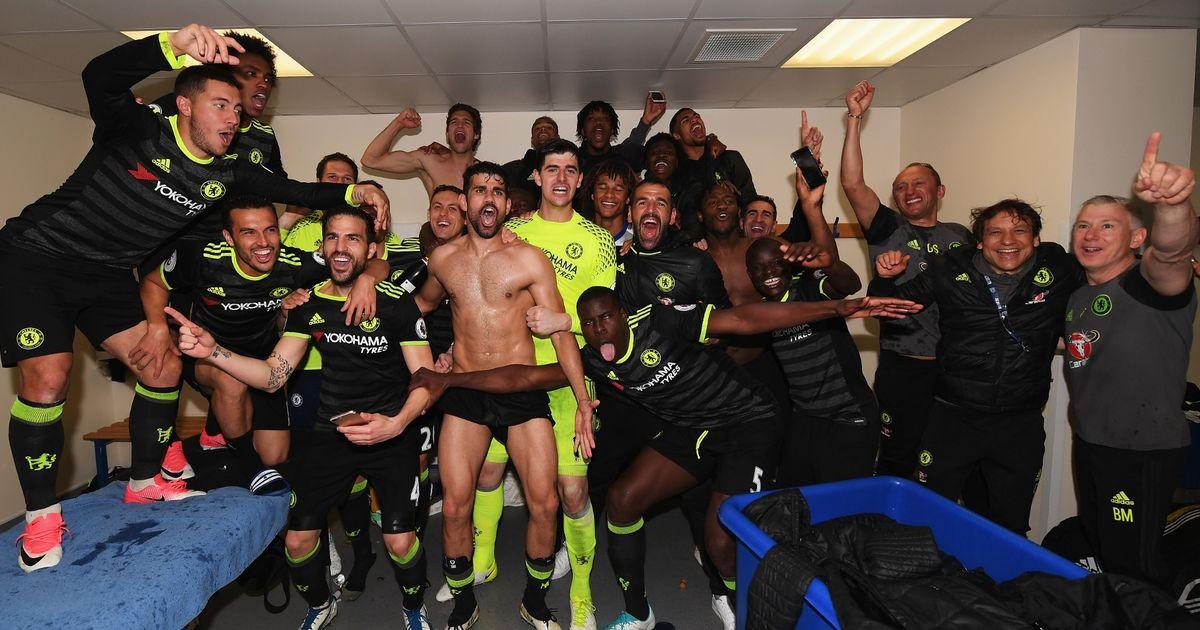 Chelsea changing room celebration after Premier League title triumph