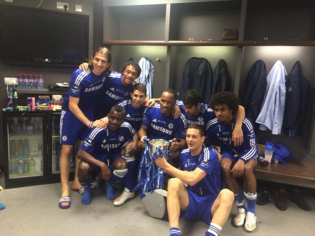 Chelsea dressing room celebrations 2018 Stamford Bridge