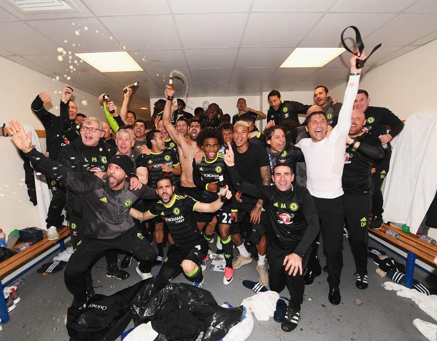 Chelsea dressing room celebrations after Premier League title triumph