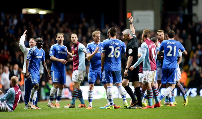 Chelsea games with the most red cards in premier league Aston Villa