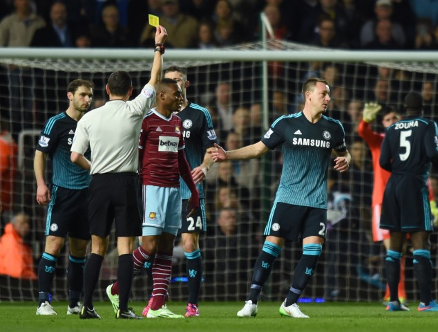 Chelsea games with the most yellow cards West Ham United Vs Chelsea 2015