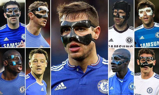 Chelsea players with face masks