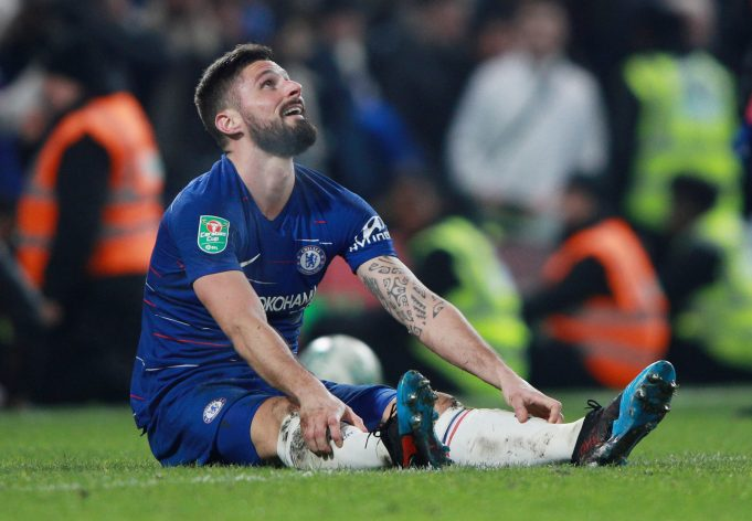 Olivier Giroud reacts to Chelsea signing Gonzalo Higuain