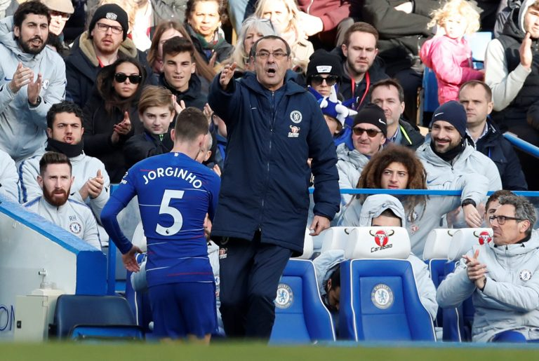 Sarri Blames Chelsea Teammates For Letting Jorginho Down Against Wolves