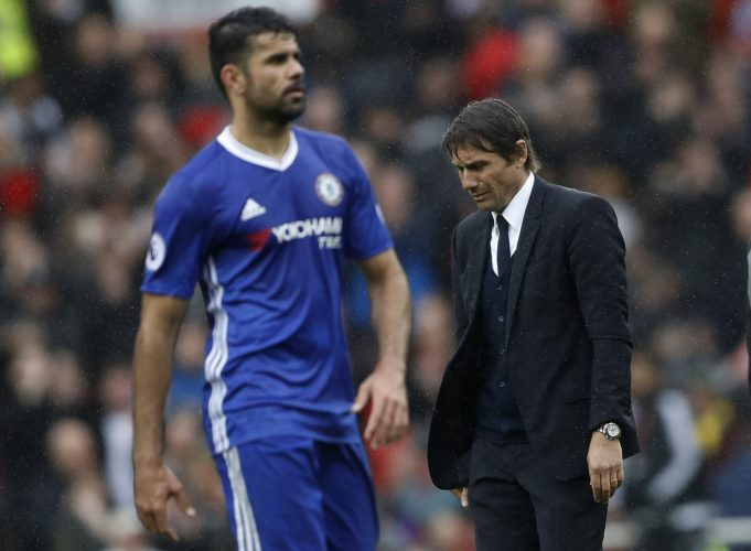 Diego Costa takes a slash at Conte