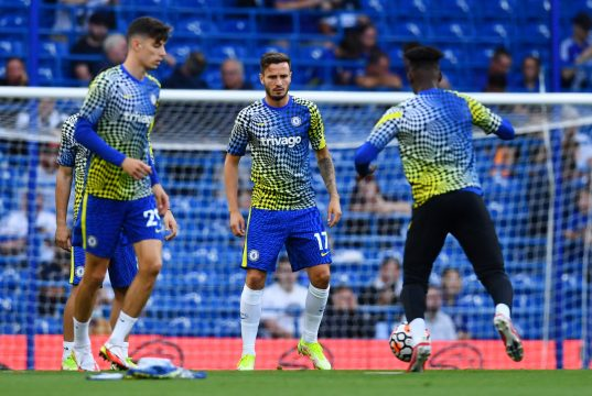 Saul Niguez surprised by two Chelsea players in training